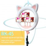 Лампа кольцевая с УШКАМИ 45 см RK-45 держатель смартфона штатив 2,1