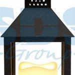 Декоративный фонарь со свечкой, черный корпус, размер 10.5х10.5х24 см,