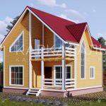 Каркасный Дом 8х8 м из бруса по проекту Кингстон