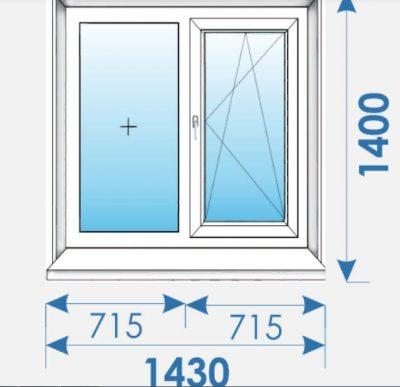 Окна Пвх 1430 х1400 дешево профиль Rehau-14
