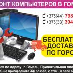 Ремонт компьютеров в Гомеле. Бесплатная доставка по городу.